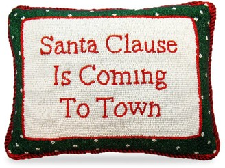 Sudha Pennathur Hand Embroidered Fully Beaded Santa Claus Is Coming To Town Pillow