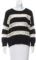 Saint Laurent Striped Open Knit-Accented Sweater