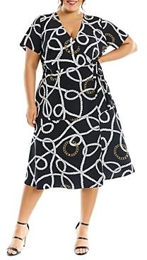 Estelle Plus Tied To You Chain Print Wrap Dress
