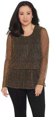 Joan Rivers Classics Collection Joan Rivers Shimmering Metallic Double Layer Knit Top