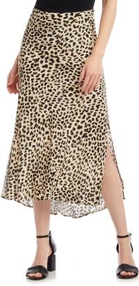 Karen Kane Leopard Print Bias Cut Skirt