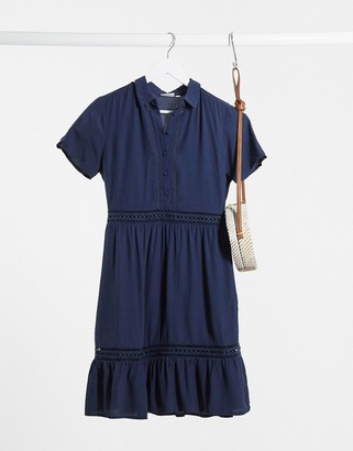 Vila shirt mini dress with tiered skirt and lace inserts in navy