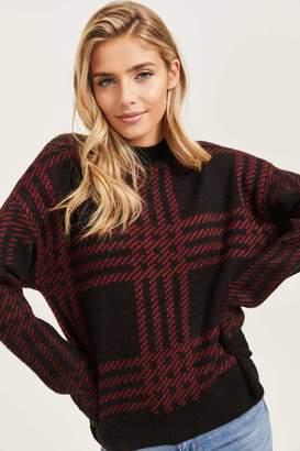 Ardene Plaid Semi-Mock Neck Sweater