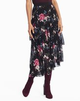 White House Black Market Floral Ruffle Midi Skirt