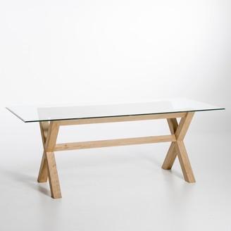 Am.pm. Xili Rectangular Oak/Glass Table (Seats 8)