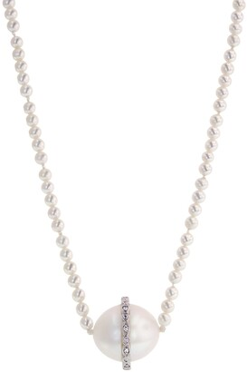 Cathy Waterman Diamond Overlay Pearl Platinum Necklace