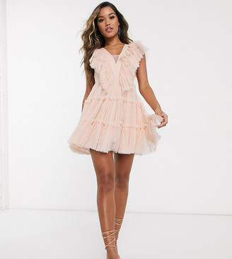Lace & Beads exclusive tulle mini dress in pastel pink
