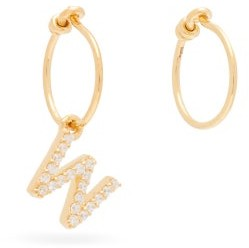 Theodora Warre - Mismatched W-charm Gold-plated Hoop Earrings - Womens - Gold