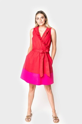 Gibson Sunbrella Ruffle Colorblock Wrap Dress