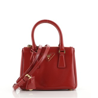 Prada Galleria Double Zip Tote Vernice Saffiano Leather Mini
