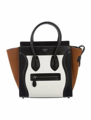 Celine 2018 Tricolor Micro Luggage Tote White