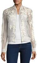 Elie Tahari Brandy Floral Illusion Silk Bomber Jacket