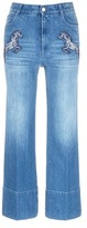 Stella McCartney Horse appliqué cropped flared jeans