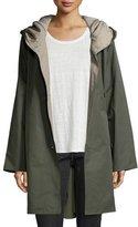 Eileen Fisher Reversible Hooded Rain Coat, Oregano/Stone, Petite