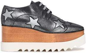 Stella McCartney Laser-cut Metallic Faux Leather Platform Brogues