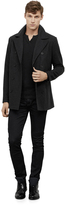 Kenneth Cole Faux Leather Trim Pea Coat
