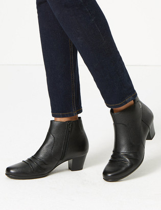 Marks and Spencer Leather Ruched Block Heel Ankle Boots