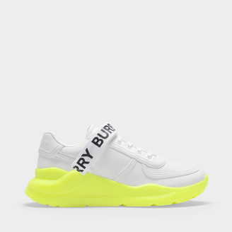 Burberry Ronnie L Low Fluo Sneakers In White Leather