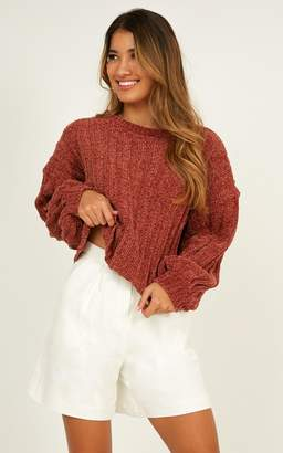 Showpo Keep The Movement Velvet Knit Jumper in rust - 8 (S) Jumpers