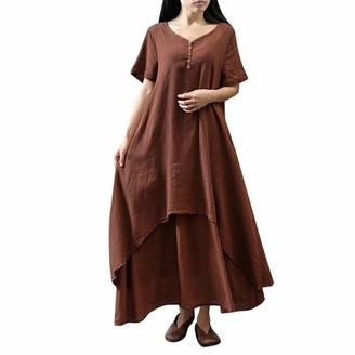Deloito  Womens Cloth Deloito--Womens Cloth Women Boho Dress Casual Irregular Maxi Dresses Vintage Loose Long Sleeve Cotton Viscose Retro Dress with Button Plus Size Ladies Long Dress
