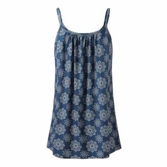 MRULIC Women's Print Sleeveless O-Neck Casual Vest Tank Tops UK-18/CN-2XL