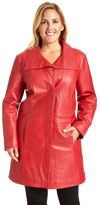 Plus Size Excelled Button-Down Leather Coat
