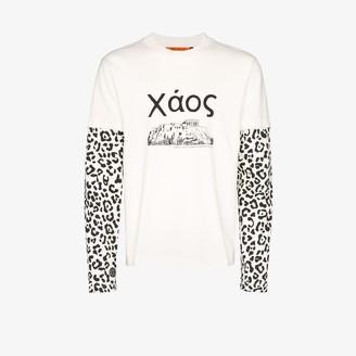 Vyner Articles Skater leopard print sleeve T-shirt