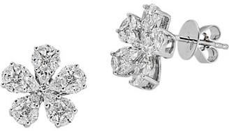 Zydo Mosaic 18K White Gold & Diamond Flower Stud Earrings