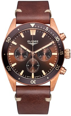 Elysee Bronze mens watch with chronograph and dial sunray