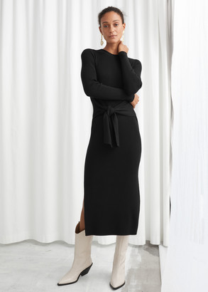 And other stories Ribbed Knot Tie Belted Midi Dress