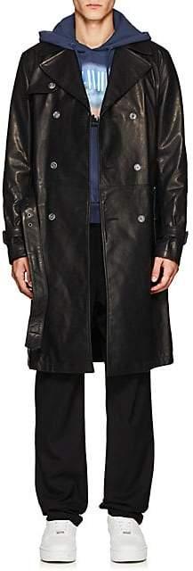 Off-White Men's Logo Leather Trench Coat - Black