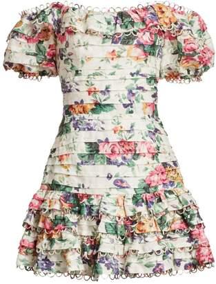 Zimmermann Allia Off-The-Shoulder Pintuck Short Dress