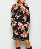 Sweet Pea Black Floral Shoulder-Cutout Shift Dress