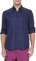 Vilebrequin Linen Long-Sleeve Shirt, Navy