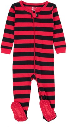 Leveret Black and Red Stripes Footed Sleeper Pajama