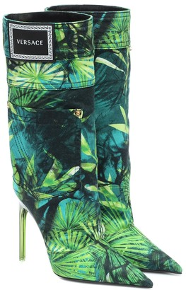 Versace Jungle-print denim boots