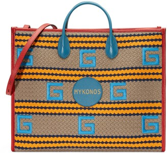 Gucci Mykonos striped tote bag