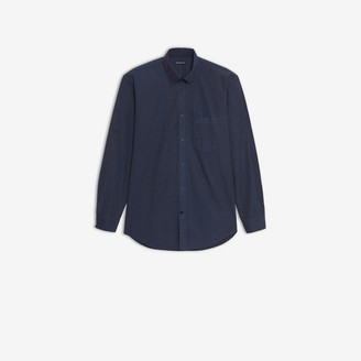 Balenciaga Normal Fit Logo Shirt in blue printed cotton poplin