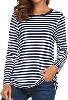 Ours Women's Round Neck Long Sleeve Basic T-shirt Striped Shirts Tunic Top Blouse (L, )