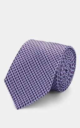 Barneys New York Men's Triangle-Pattern Silk Jacquard Necktie - Purple