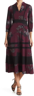 Taylor Printed Midi Floral Jersey Dress