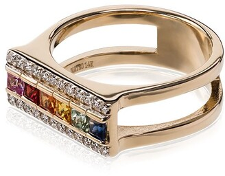 Mateo 14kt Gold Rainbow Sapphire Bar Ring