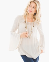 Chico's Lace-Mix Peasant Top