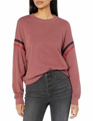 Monrow Women's Boxy Sweatshirt w/Stripe Embroidery