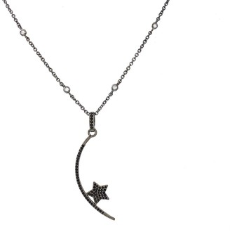 Savvy Cie Sterling Silver Spinel Star & Crescent Moon Pendant Necklace