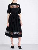 Rochas Floral lace-trim georgette midi dress