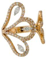 Ring 18K Diamond Floral Cuff