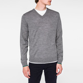 Paul Smith Men's Grey Marl V-Neck Merino Wool Sweater