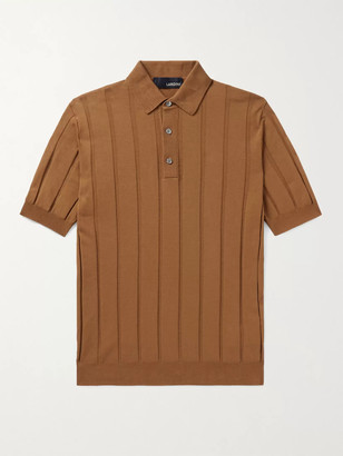 Lardini Ribbed Cotton Polo Shirt - Men - Brown