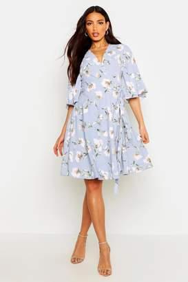 boohoo Woven Floral Wrap Midi Dress